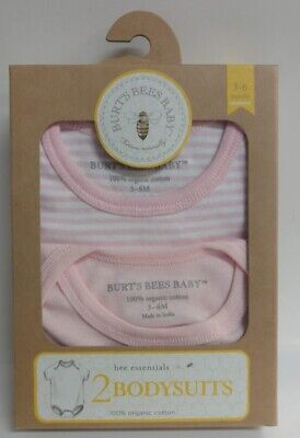 Burt's Bees Baby 100% Organic Cotton, Set of 2 Body Suits for girls 3-6 Months
