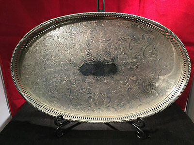 Large Vintage Gallery Tray (Sheffield) (Silver Plate On Copper)