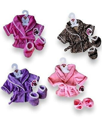 Teddy Bear Clothes Fit Build a Bear Teddies Robe Slippers Bears Dressing Gown
