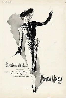 SAMUEL KASS Fashion Ad Page 1944 NEIMAN MARCUS Dallas Charles Cooper Back Side