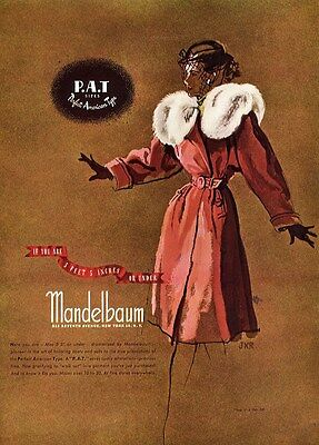 MANDELBAUM Coat Fashion Ad Page 1946 Pink Coat with White Fur Collar Shown