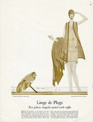BATHING BEAUTY COSTUME 1927 Fashion Page Illustrated GEORGE LEPAPE Mary Nowitzky