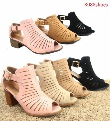 Women's Open Toe Ankle Strap Buckle Chunky Heel Booties Sandal Shoes size 6 - 10