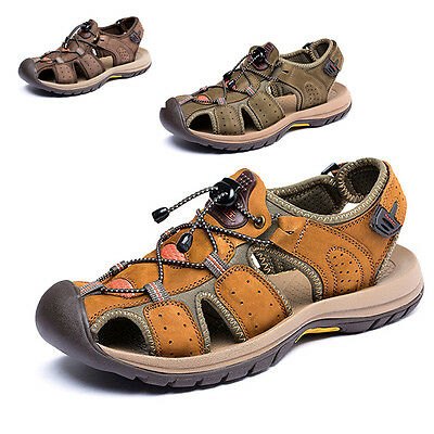 Summer Sports Sandals Close Toe Outdoor Leather Casual Men Beach Fisherman Shoes