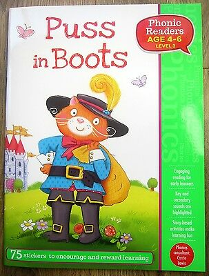 Puss In Boots Reading Story Book Children Age 4 5 6 Phonics Year 1 Reader P