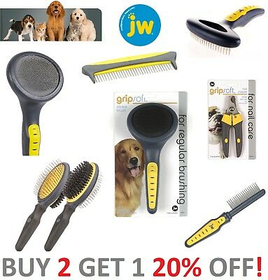 JW Pet Gripsoft Deluxe Pet Grooming Nail Clipper Slicker Brush Rake Comb _OFFER!