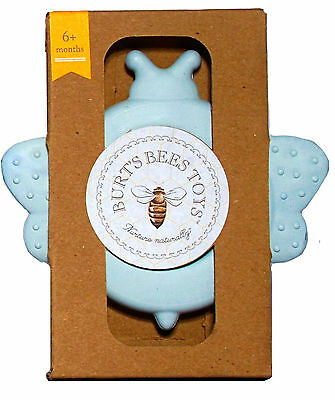 "Burts Bees Toys BPA FREE Baby Bee Teether ""Beether"" for boys 6+ Months Sail Blue"