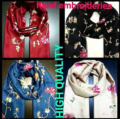 STUNNING WOMENS  FLORAL Embroidered scarf Pashmina Feel Scarves Shawl  Wrap
