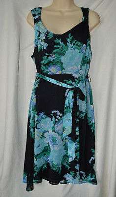 6f0e1a9624 Merona Womens XL Blue Black Knee Length Dress With Scarf Belt Tank Top