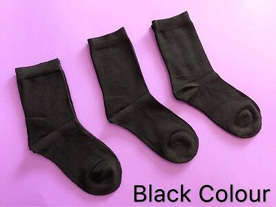 3 Pairs Boys Girls Kids Crew Plain School Socks Rich Cotton Sz 13-3 Black Color