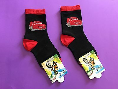 2 Pairs McQueen Cars Cartoon Boys Girls Kids Birthday Party Crew Socks Size 9-12