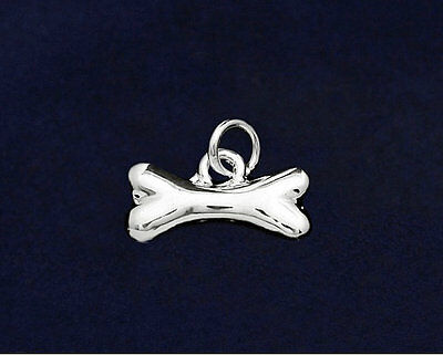 Sterling Silver-Plated Dog Bone 3D Charm - SALE BENEFITS RESCUE