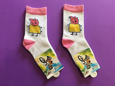 2 Pairs Peppa Pig Family Cartoon Boys Girls Kids Birthday Party Socks Size 5-8