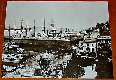 New York City Harbor At Turn Of The Century Tall Ship People Wagons Horse Buggy