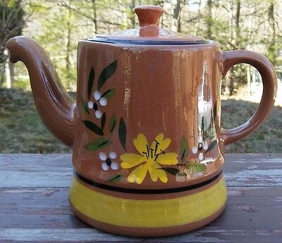 Stangl Pottery - Yellow Flower - Red Stoneware Teapot