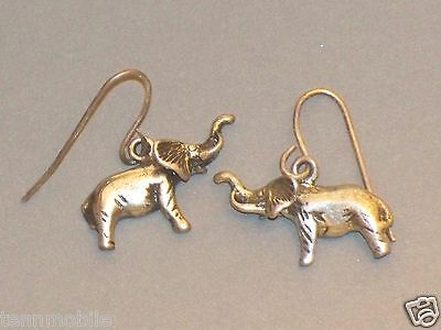 Vintage STERLING ELEPHANT Pierced EARRINGS Silver Charm Pendant