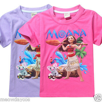 Moana Shirt Princess Girls Pink Summer T-Shirts Cute Cartoon Kids Children Tops