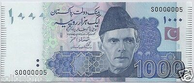 Pakistan 1000 Rupees  # S 0000005  Unc Super Low Serial Number  #5  Banknote