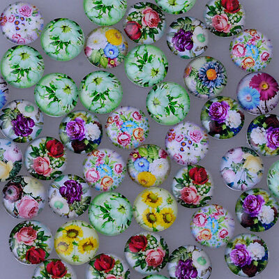 Round Flat Back glass Cabochon with Floral Pattern glass Dome DIY handmade