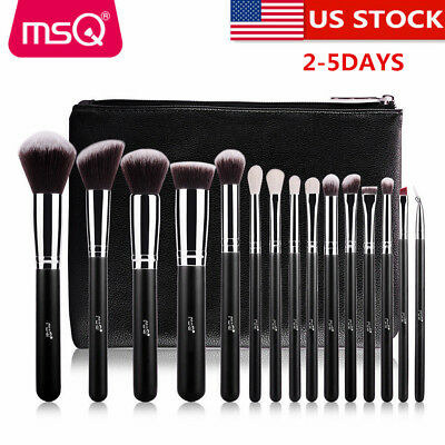 US DELIVERY Professional 15PCs Black Makeup Brush Set Kits Synthetic Holder Bag
