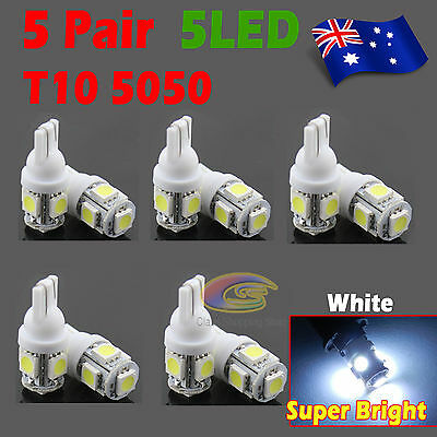 10x T10 LED 5SMD 5050 White 194 168 Car Light Bulb Lamp 12V Wedge Tail Side Auto