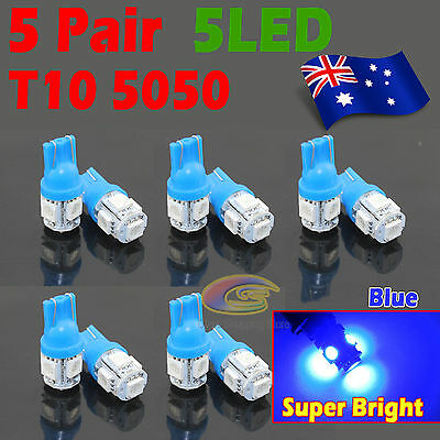 10x Blue T10 LED 5SMD 5050 194 168 Car Light Bulb Lamp 12V Wedge Tail Side Auto