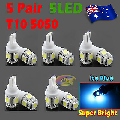 10x T10 5050 SMD 5 LED 194 168 Car Light 12V Wedge Tail Side Bulb Lamps Ice Blue