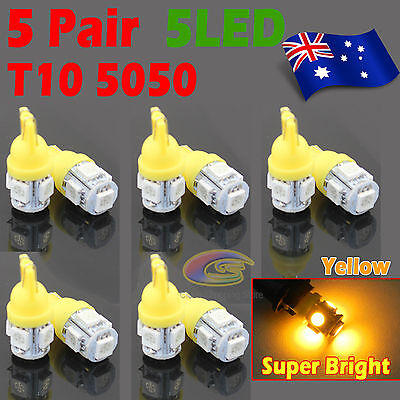 10Pcs Yellow T10 5050 SMD 5 LED 194 168 Car Light 12V Wedge Tail Side Lamp GIFT