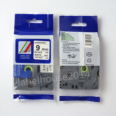 9mm TZ S221 Black on White Strong Adhesive Label Compatible for Brother TZe S221