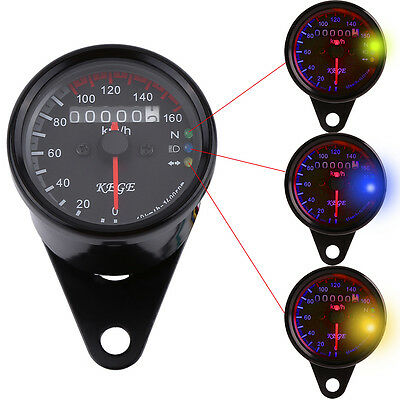 Black Shell LED Backlight Motorcycle Dual Odometer Speedometer Gauge Cafe Racer