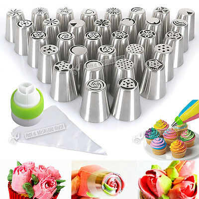 32x ICING PIPING NOZZLES + 100x BAGS SET TOOL FOR FLOWER CAKE DECORATING ADAPTOR