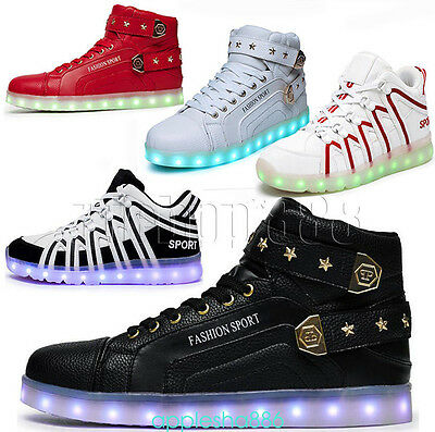 2017 Mens Womens USB Charger LED Lights Lace Up Sport Shoes Casual FASHION SHOES