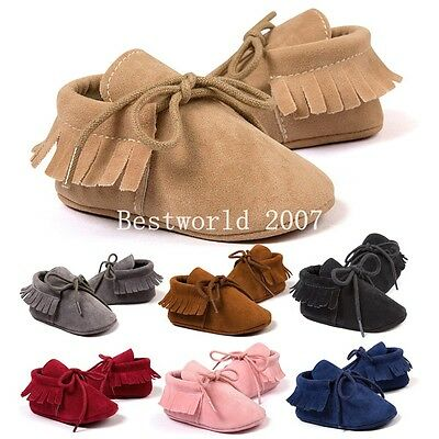 Infant Newborn Baby Boys Girls Toddler Tassel Moccasin Crib Shoes Soft Sole Cute