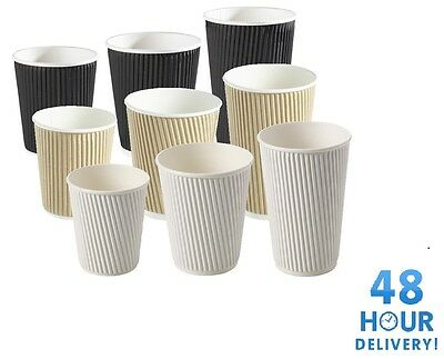 Disposable Paper Coffee Cups 8/10/12/16oz Insulated Ripple Black White or Brown