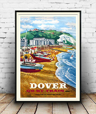 Dover , Vintage Railway seaside travel advertising Poster reproduction.