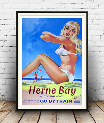 Herne Bay , Vintage Railway travel advertising Poster reproduction.