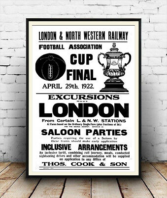 FA Cup Final Excursion , Vintage Rail travel advertising Poster reproduction.
