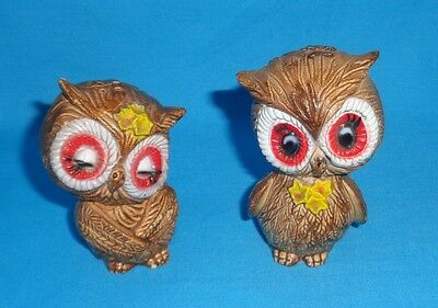 Vintage Big Eyed Owl Brown Salt & Pepper Shakers So Cute