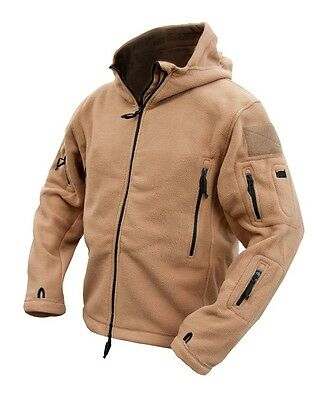 Men's Kombat UK Tactical Fleece Hoodie Full Zip Coyote Recon Military