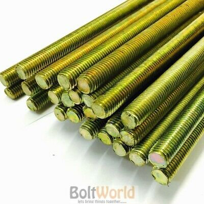 1M, Yellow Passivated Zinc Plated Fully Threaded Bar Studding Rod Stud Steel Yzp