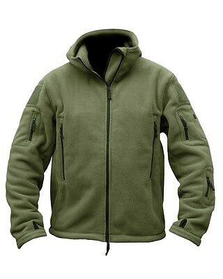 Men's Kombat UK Tactical Fleece Hoodie Full Zip Olive Green Recon Military