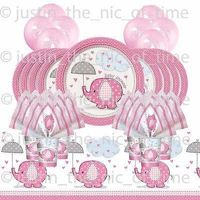 BABY SHOWER GIRL Party Pack Tableware Kit BABY ELEPHANTS With Helium Balloons