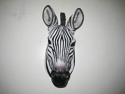 SAFARI AFRICA ZEBRA WALL HEAD MOUNT Decoration SCULPTURE STATUE LOG CABIN