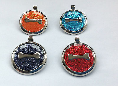 Pet ID Dog Tag 30mm Quality Large Reflective Glitter Bone Design FREE ENGRAVING