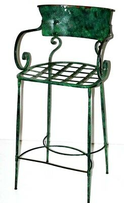 Vintage Enamel Wrought Iron Bar Stool with Cushion Early 20C [PL3149A]