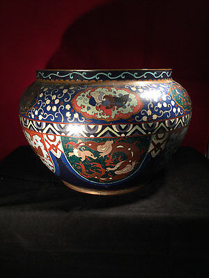 Large Japanese Cloisonné Planter (Three Toed Dragons) c1900
