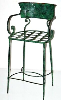 Vintage Enamel Wrought Iron Bar Stool with Cushion Early 20C [PL3149D]