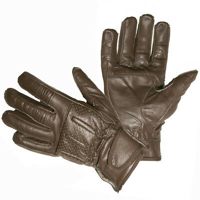 BROWN CRUISER MOTORCYCLE GLOVES FOR MEN Perforated Short Wrist Leather Motorcycl