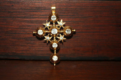 Antique Very Fine Georgian French 18k Gold Cross Pendant