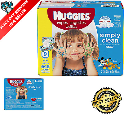 [648 Ct]Huggies Simply Clean Baby Wipes Fresh Scent Soft Pack Fresh Alcohol-Free